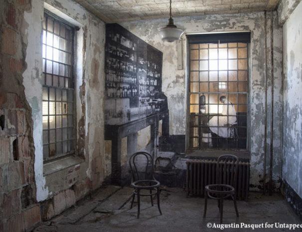 Ellis Island Abandoned Hospital's pharmacy room