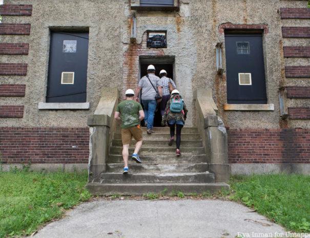 Ellis Island Abandoned Hospital hard hat tour entering building