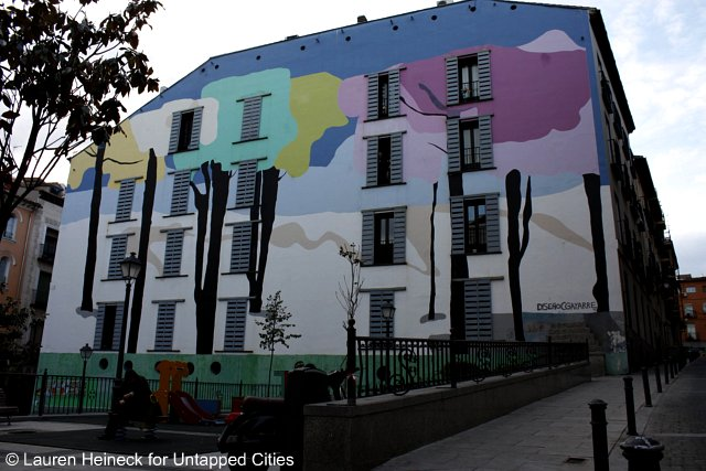 Urban art on apartment building Lavapies Madrid