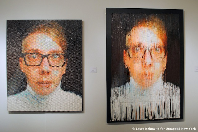These paintings, especially the one on the left, reminded me of portraits by Chuck Close.