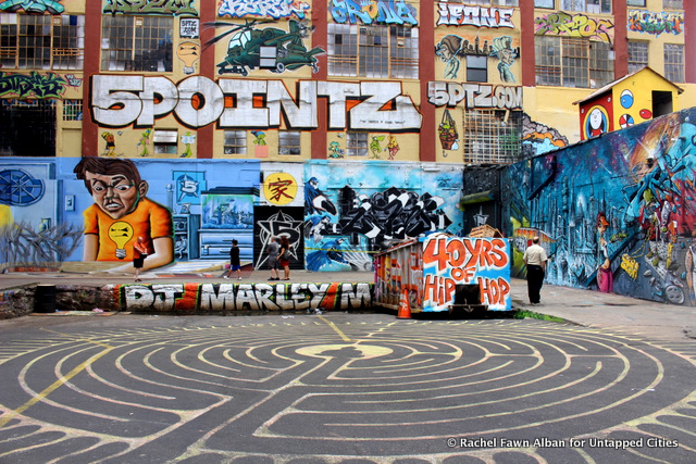 5 Pointz loading dock, and the labyrinth in the parking lot.