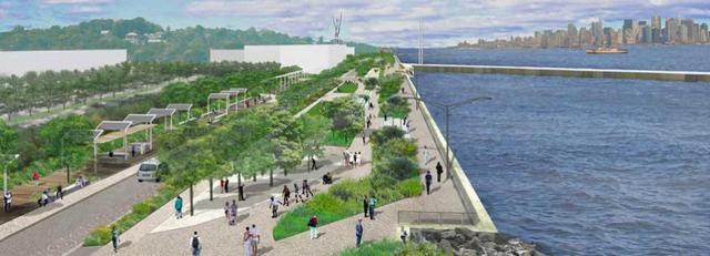 artist rendering of the new Stapleton Waterfront Esplanade. via NYCEDC