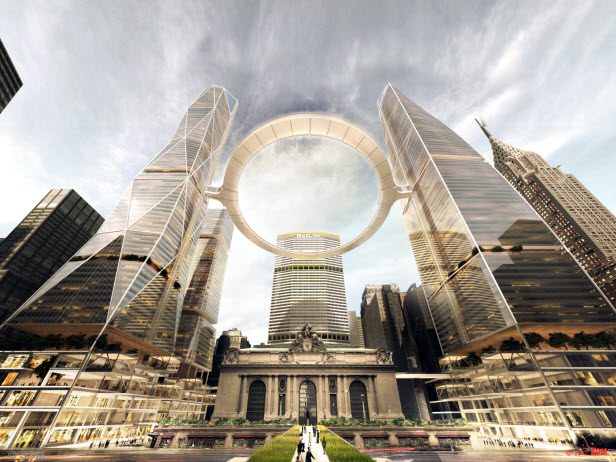 Andrew Dolkart thought SOM's proposal for a UFO-like structure over Grand Central was drawn up by opponents to the rezone Source: SOM
