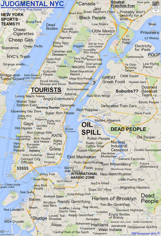 brooklyn map new york And There S A New Judgmental Map Of Nyc Untapped New York brooklyn map new york