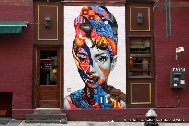 """Audrey Hepburn"" by Tristan Eaton, located at Caffe Roma on Mulberry and Broome St."