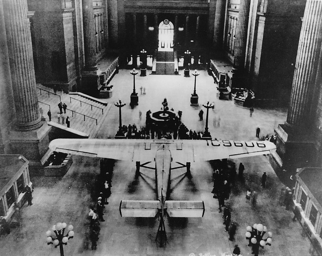 The Time There Was An Airplane in Penn Station and Amelia Earhart Broke a Champagne Bottle On It
