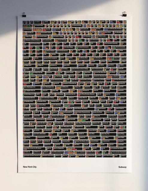 The New York City Subway- 468 stations. 1 poster-Alex Daly & Hamish Smyth-Vignelli Standards Manual