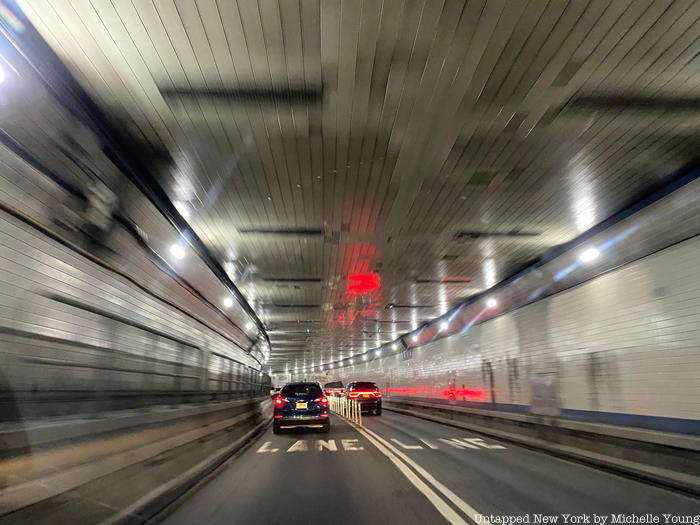 Inside Lincoln Tunnel with cars