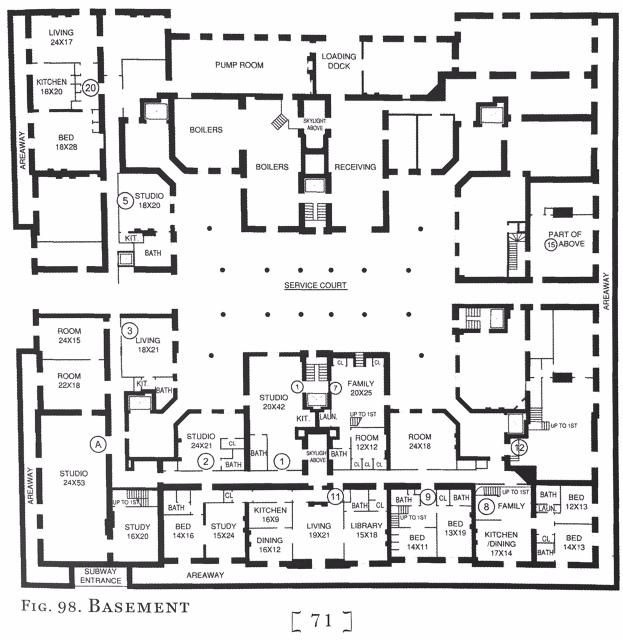 Basement Floor Plan-THe Dakota Apartments-Upper West Side-Central Park West-NYC