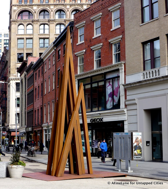 "25 Foot Rusted Steel Structure, ""Disorder: 9 Uneven Angles"" Now in Union Square"