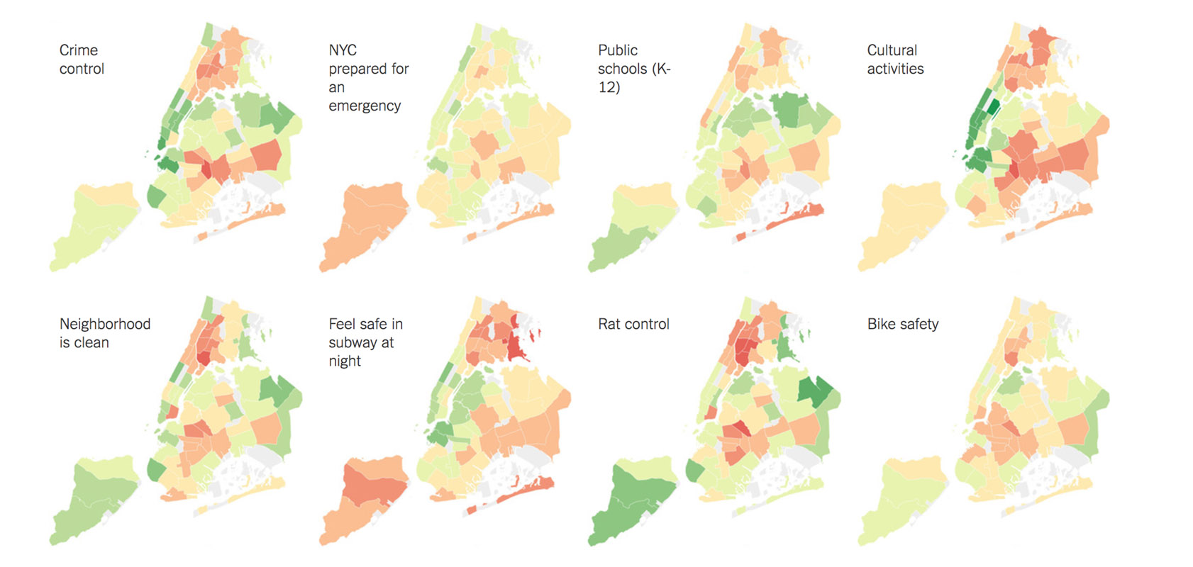 Fun Maps: How New Yorkers Feel About Subway Safety, Rat Control and 42 Other Urban Issues
