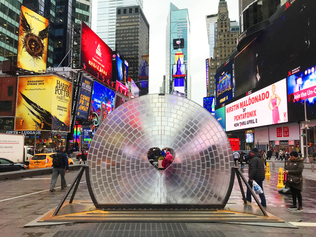 Giant, Reflective Lens Now on View at NYC's Times Square for Valentine's Day
