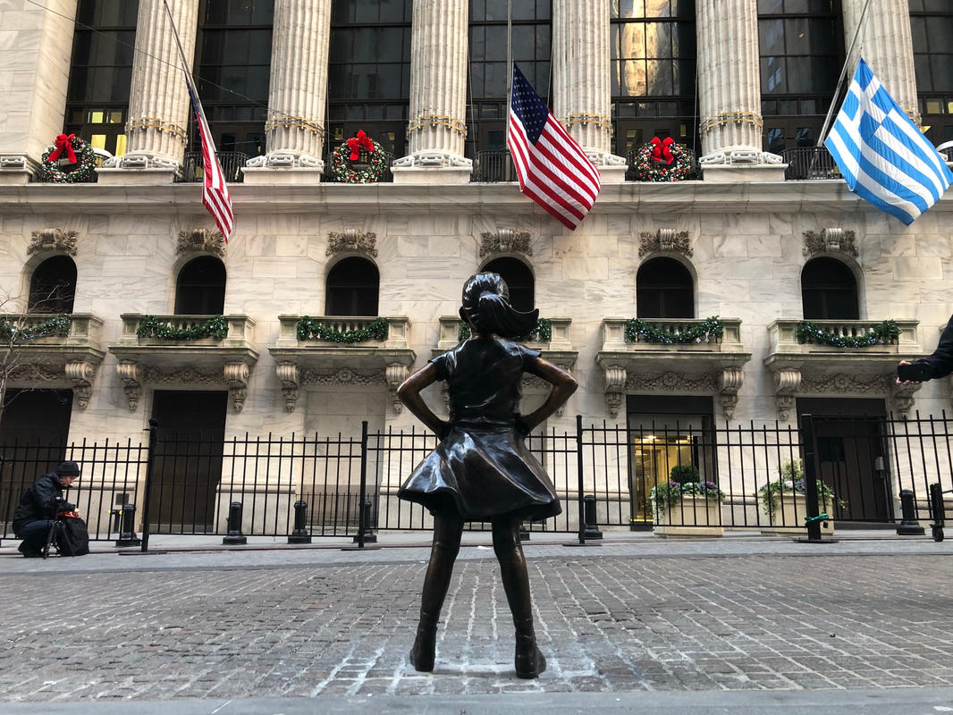 Fearless Girl Statue Arrives In Front of the New York Stock Exchange