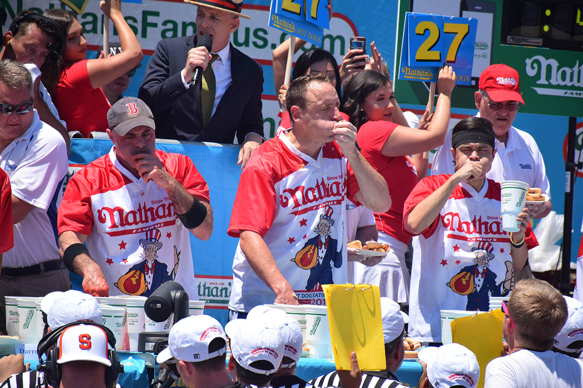 Photos: A Competitive Chow Down at Nathan's Annual Hot Dog Eating Contest in Coney Island