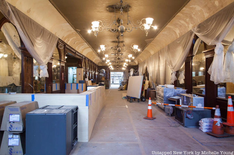 A wide shot of the Gage & Tollner dining room while it is underconstruction