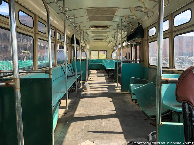 Abandoned trolley car in Red Hook