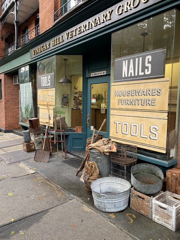 Film set of Passing in Brooklyn Heights with vintage hardware store