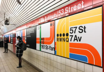 5th Av-53rd Street exhibit with MoMA and MTA on subway graphic design