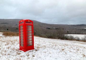 Red phone booth in the Catskills near New Kingston