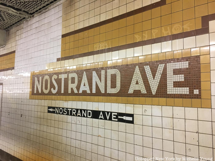 Yellow subway tiles at Nostrand Ave