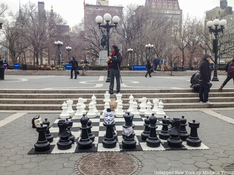 Giant chess board in Union Square