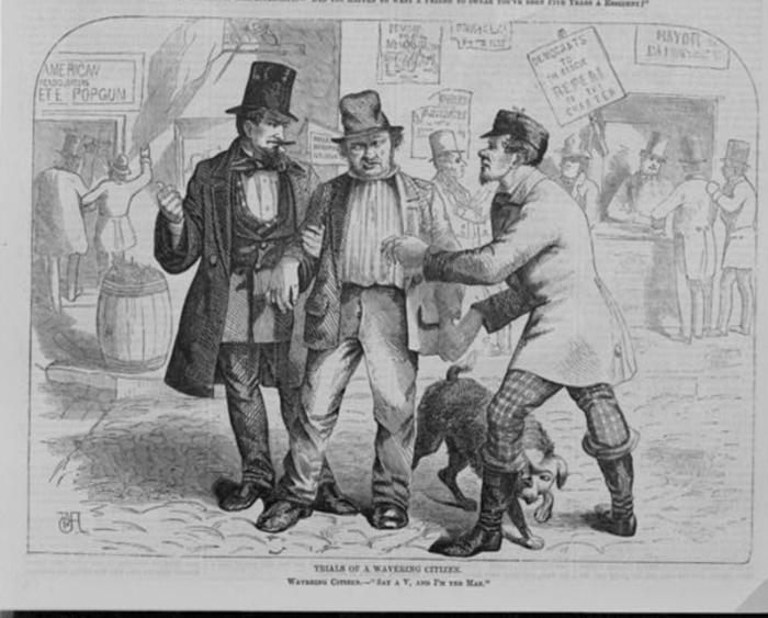 Cooping, a 19th-century practice of voter fraud