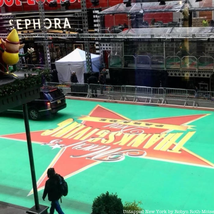 Preparations take place on the 2020 Macy's Thanksgiving Day Parade route