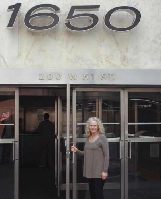 Carole King outside 1650 Broadway