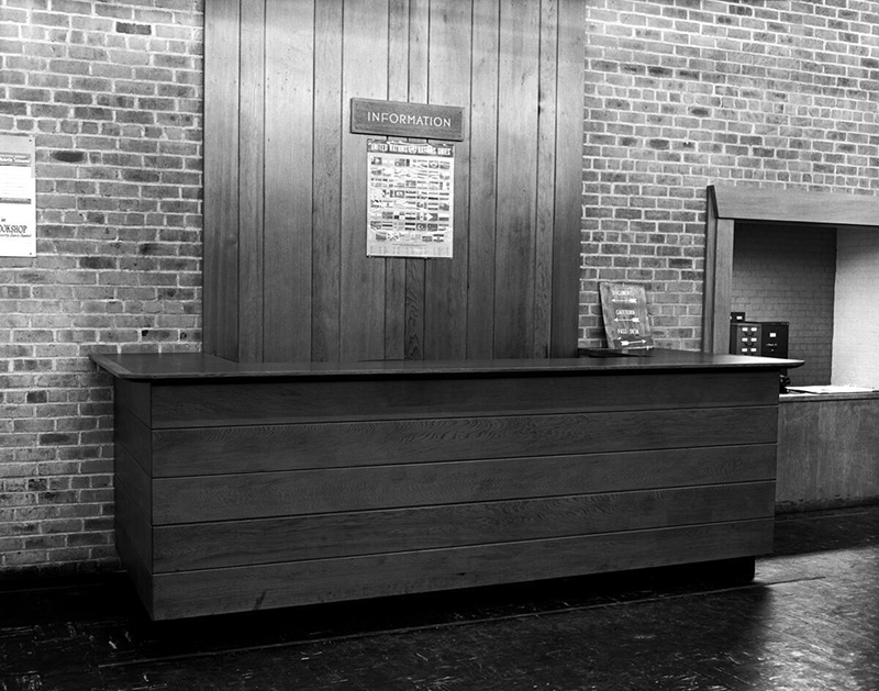 Information booth at Lake Success. Photo from United Nations archive.