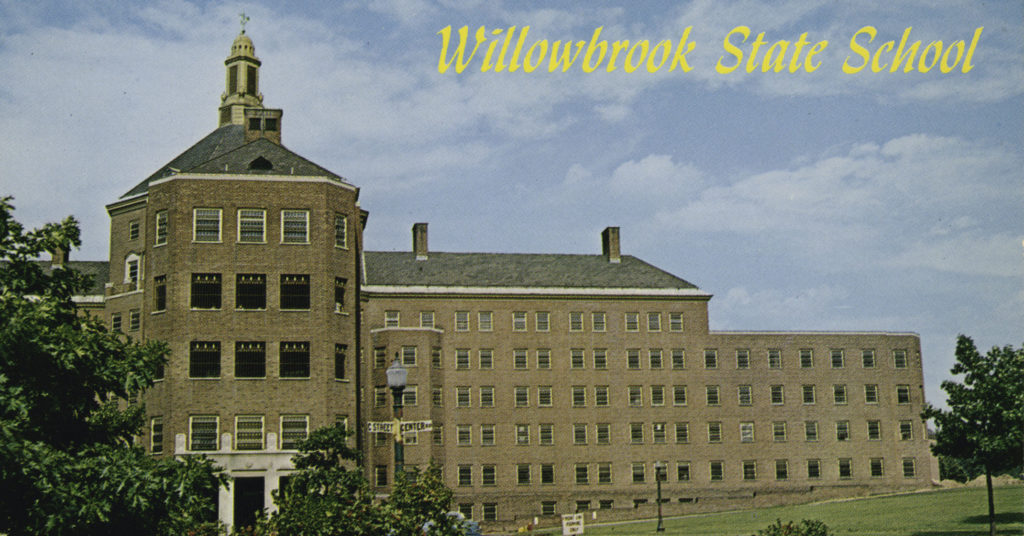 An idyllic-looking postcard from The Willowbrook State School.