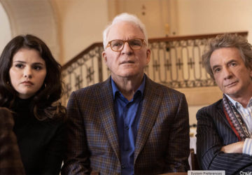 """Only Murders In The Building -- """"Who Is Tim Kono?"""" - Episode 102 -- The group begins researching the victim. Meanwhile, Mabel's secretive past starts to be unraveled. Mabel (Selena Gomez), Oliver (Martin Short), and Charles (Steve Martin), shown. (Photo by: Craig Blankenhorn/Hulu"""