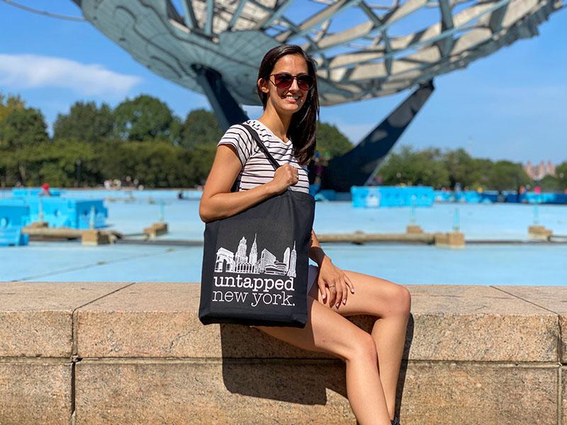 Nicole Saraniero posing with Untapped New York tote bag